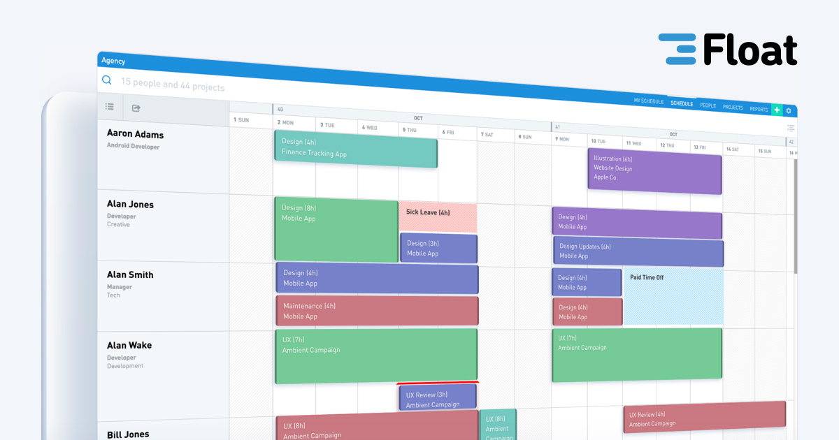 Float - Resource Scheduling App and Team Planning Software
